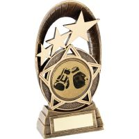 Bronze Gold Generic Tri-Star Oval With Boxing Insert Trophy - 5.5in