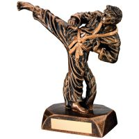 Bronze Gold Resin Karate Figure Trophy - 7.5in