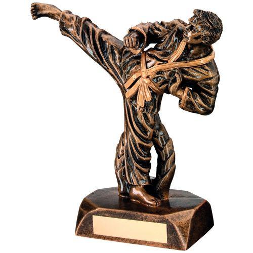 Bronze Gold Resin Karate Figure Trophy - 7.5in