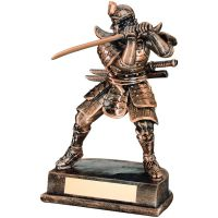 Bronze Gold Resin Samurai Figure - 8in