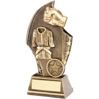 Bronze Gold Martial Arts Curved Plaque Trophy - (1in Centre) 6in