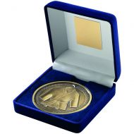 Blue Velvet Box+Medal Martial Arts Trophy - Antique Gold 4in