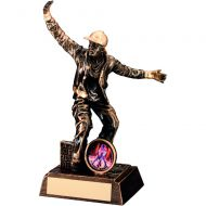 Bronze/Gold Resin Male Street Dance Figure Trophy (1in insert) - 7.25in