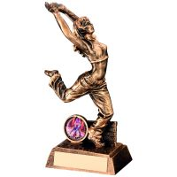 Bronze Gold Resin Female Street Dance Figure Trophy (1in Insert) - 7.5in
