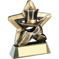 Bronze Gold Top Hat Gloves Cane Mini Star Trophy 3.75in