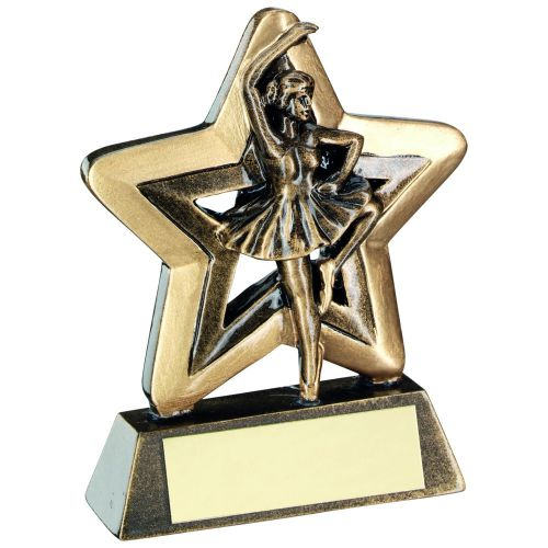 Bronze Gold Ballet Mini Star Trophy 3.75in