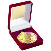 Red Velvet Box And Medal Star Torch Trophy Gold 3.5in