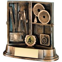 Bronze Gold Resin Angling Tackle Box Trophy - 8in