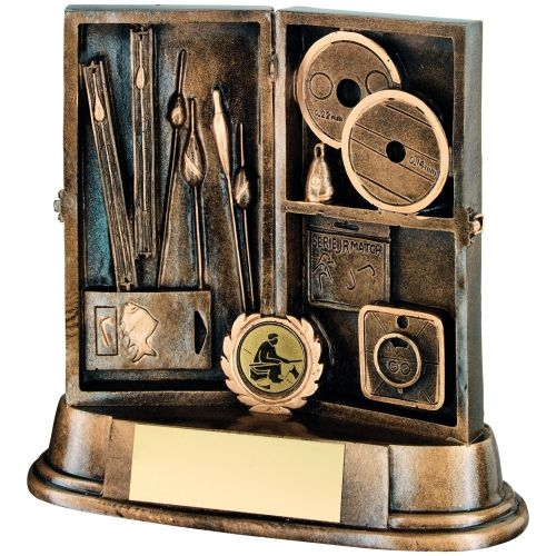 Bronze Gold Resin Angling Tackle Box Trophy - 7in