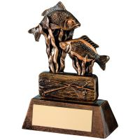 Bronze Gold Resin Angling Trophy - 8in