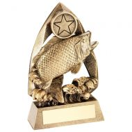 Bronze Gold Gold Angling Diamond Collection Trophy Award - 5.75in
