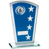 Blue Silver Printed Glass Shield Trophy Award With Angling Insert Trophy - 7.25in