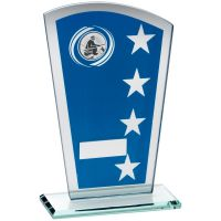 Blue Silver Printed Glass Shield Trophy Award With Angling Insert Trophy - 8in