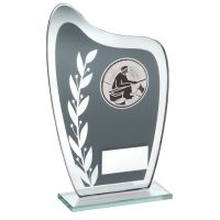 Grey Silver Glass Plaque With Angling Insert Trophy 6.5in