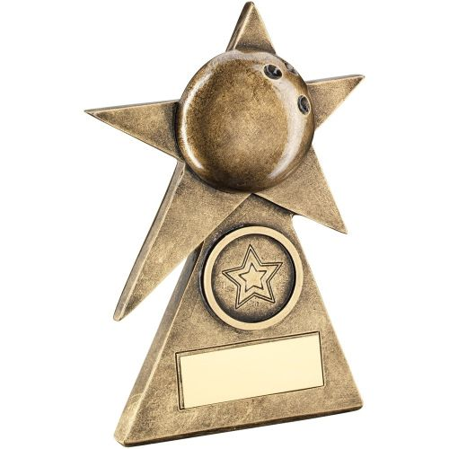 Bronze Gold Ten Pin Star On Pyramid Base Trophy - (1in Centre) - 4in