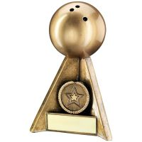Bronze Gold Ten Pin Pyramid Trophy 5in