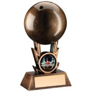 Bronze-Gold Ten Pin Ball On Strikes Trophy - 4.25In (New 2014)