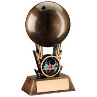 Bronze-Gold Ten Pin Ball On Strikes Trophy - 5in (New 2014)