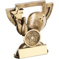 Bronze Gold Ten Pin Mini Cup Trophy Award Trophy - (1in Centre) 4.25in