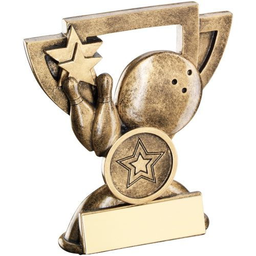 Bronze Gold Ten Pin Mini Cup Trophy Award Trophy - (1in Centre) 3.75in