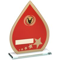 Red Gold Printed Glass Teardrop With Ten Pin Insert Trophy - 7.25in