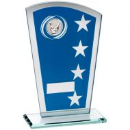 Blue/Silver Printed Glass Shield With Ten Pin Insert Trophy Award - 6.5in