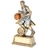 Bronze Pewter Orange Male Basketball Figure With Star Backing Trophy Award - 7in