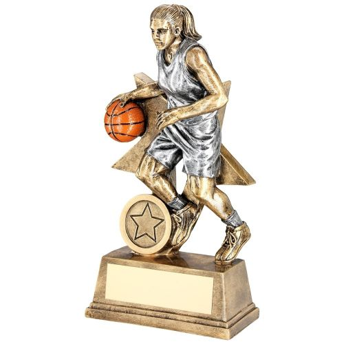 Bronze Pewter Orange Female Basketball Figure With Star Backing Trophy Award