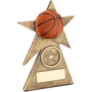 Bronze/Gold/Orange Basketball Star On Pyramid Base Trophy - (1in Centre) - 4in