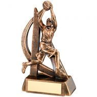 Bronze Gold Female Basketball Geo Figure Trophy - 7in