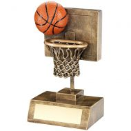 Bronze Gold Orange Basketball And Net With Backboard Trophy - 6in