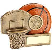 Bronze Orange Basketball And Net Chunky Flatback Trophy Award - 3.25in