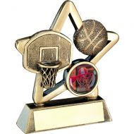 Bronze/Gold Basketball Mini Star Trophy 3.75in