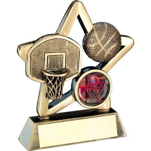 Bronze Gold Basketball Mini Star Trophy 4.25in