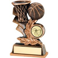 Bronze Gold Basketball Leaf Plaque Trophy - 4in
