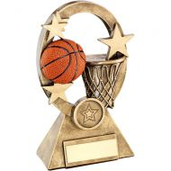 Bronze Gold Orange Basketball Oval Stars Series Trophy - (1in Centre) 7.25in