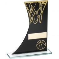 Black Gold Printed Glass Plaque With Basketball Net Trophy - 8in
