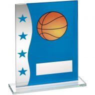 Blue Silver Printed Glass Plaque With Basketball Image Trophy Award - 7.25in
