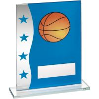 Blue Silver Printed Glass Plaque With Basketball Image Trophy Award - 6.5in