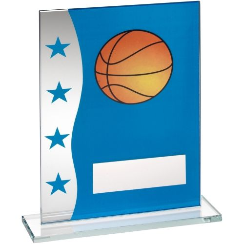 Blue Silver Printed Glass Plaque With Basketball Image Trophy Award - 8in