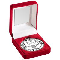 Red Velvet Box And Silver Basketball Medal Trophy - 3.5in