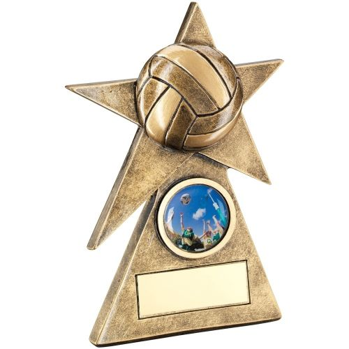 Bronze Gold Netball Star On Pyramid Base Trophy - (1in Centre) - 6in
