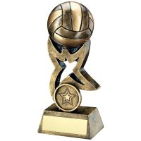 Bronze Gold Netball On Star Trophy Riser Trophy 4in