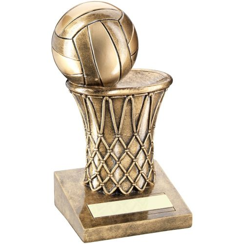 Bronze Gold Netball And Net Trophy - 6.75in