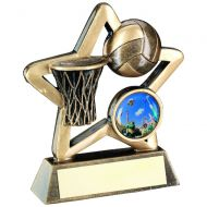Bronze Gold Netball Mini Star Trophy 3.75in
