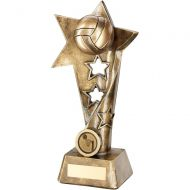 Bronze Gold Netball Twisted Star Column Trophy - (1in Centre) 7.5in