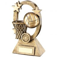 Bronze Gold Netball Oval Stars Series Trophy - (1in Centre) 6.25in