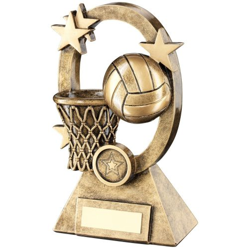 Bronze Gold Netball Oval Stars Series Trophy - (1in Centre) 7.25in