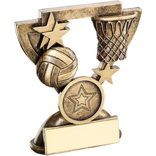 Bronze Gold Netball Mini Cup Trophy Award Trophy - (1in Centre) 3.75in