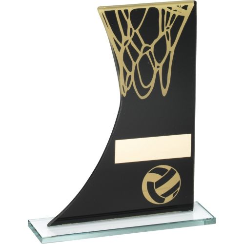 Black Gold Printed Glass Plaque With Netball Net Trophy - 7.25in
